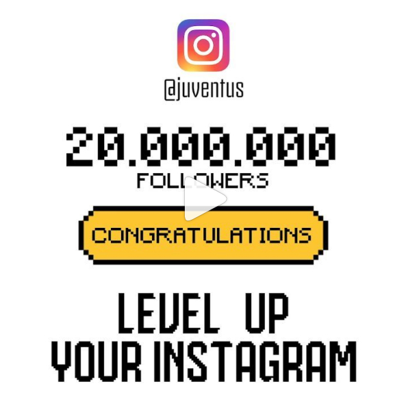 Juventus su Instagram ha raggiunto i 20 milioni di followers.