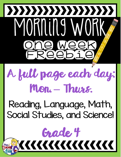 Classroom Freebies Too: Morning Work for 4th Grade: FREE ...