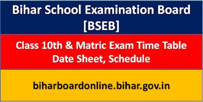 BSEB 10th Date Sheet 2021, Bihar Board 10th Time Table 2021, BSEB Metric Exam Schedule 2021, Bihar Board Metric Exam Program 2021