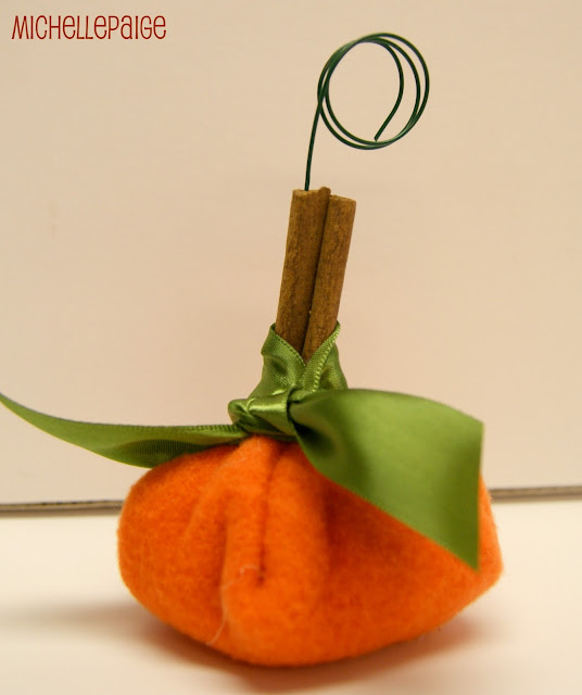 Pumpkin place cards made from Dollar Store supplies.  No sew!