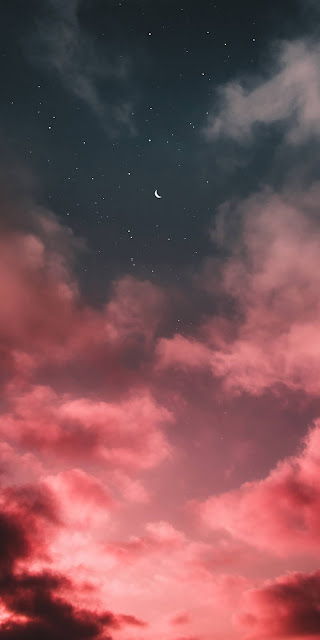 The crescent moon light up at night