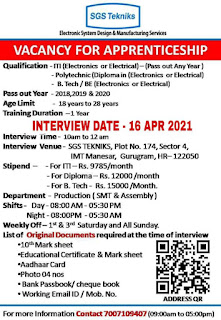 ITI, Diploma And B.Tech, BE Vacancy For Apprenticeship In Sgs Techniks Manufacturing Pvt Ltd Manesar, Haryana