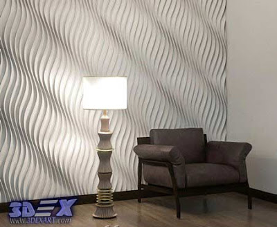 3d gypsum wall panels, 3d plaster wall paneling design, waves wall panels