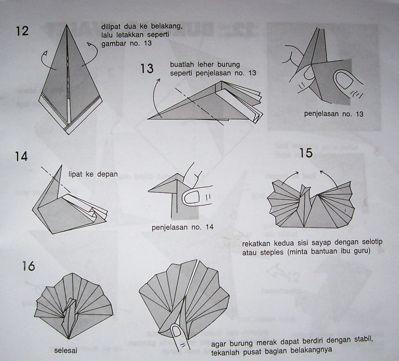 Cara Membuat Origam Burung  Merak  Paper work