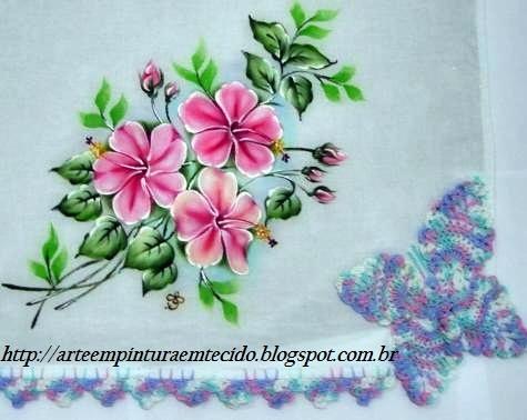 pintura em tecido e croche flores