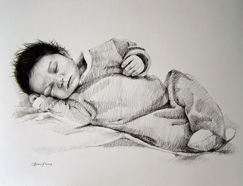 Portrait zeichnen vom Foto Kind Baby