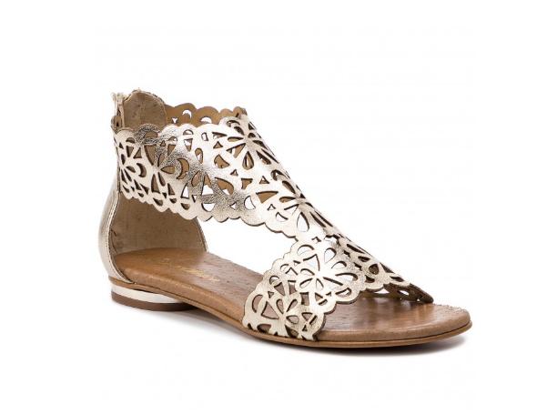 Sandale argintii cu talpa joasa din piele naturala
