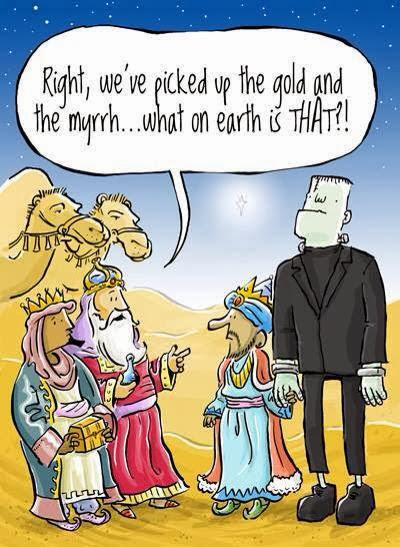 Funny three wise men cartoon - Right, we've picked up the ogld and the myrrh ... what on earth is that