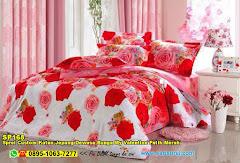 Sprei Custom Katun Jepang Dewasa Bunga My Valentine Putih Merah