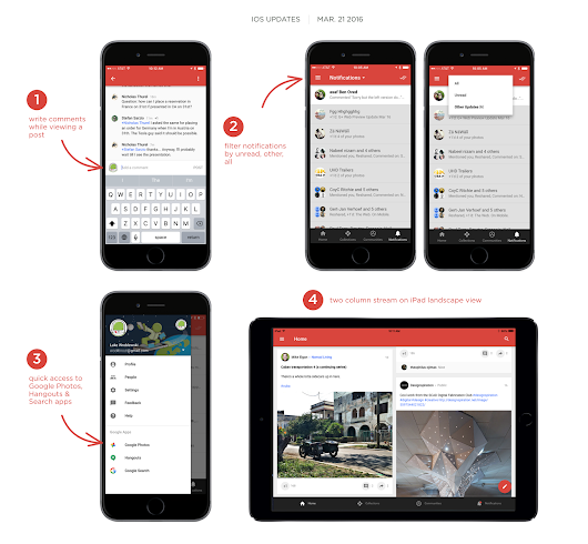 Two-Column Stream, Quick Access to Google Apps on Google+ iOS v5.4
