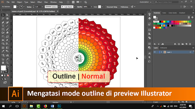 Cara mengatasi mode outline di preview adobe illustrator + video