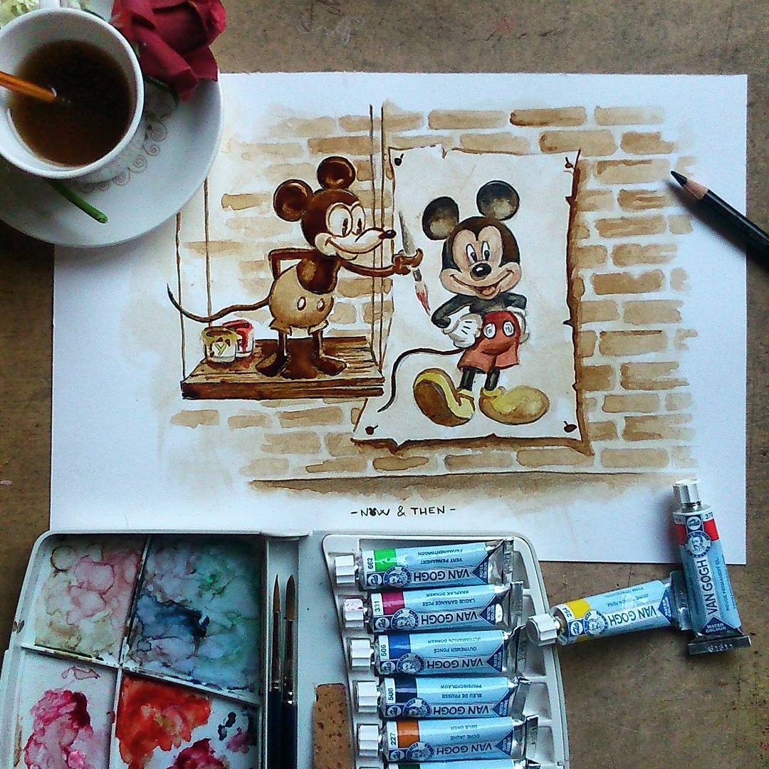 12-Mickey-mouse-Walt-Disney-Nuria-Salcedo-nuriamarq-Celebrities-and-Animated-Movies-Painted-with-Coffee-and-Brown-Pencil-www-designstack-co