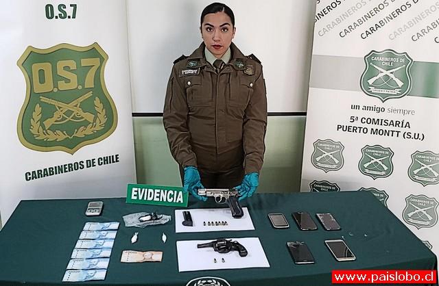 Carabineros incauta armas de fuego y cocaína en Puerto Montt