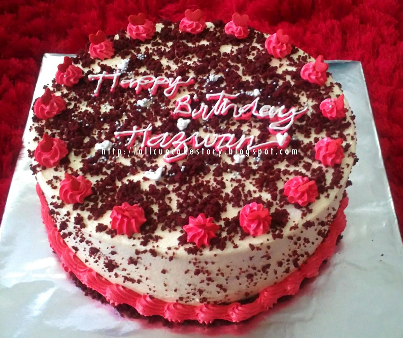 Allcupcakestory Red Velvet Birthday Cake