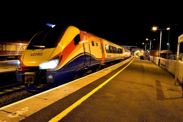 Night Photo of East Midlands Trains Class 222 002 at Wellingborough Railway Station