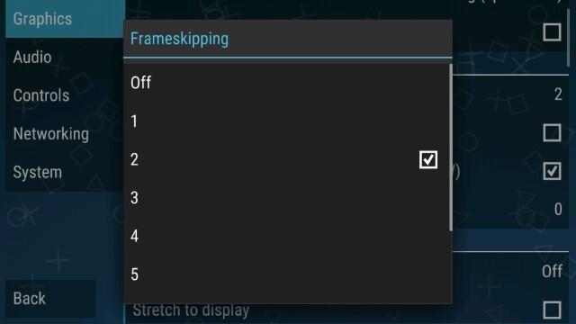 Setting frame skip PPSSPP