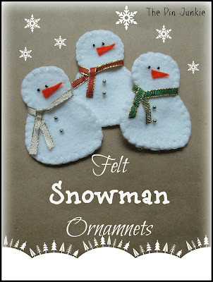 DIY Felt Snowman Christmas Ornaments