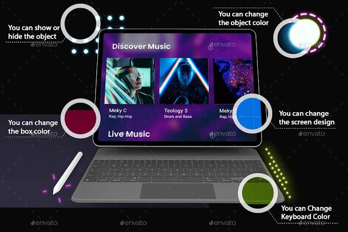 Neon iPad Pro & Magic Keyboard Mockup[Photoshop][28741134]