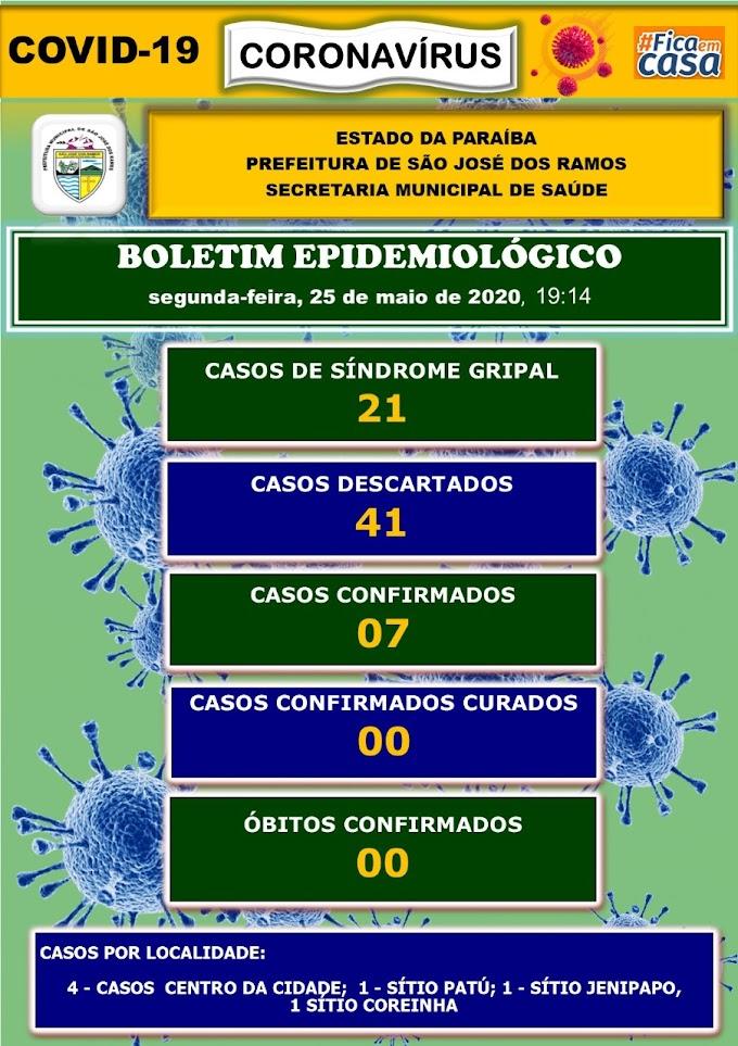 BOLETIM CORONA-VÍRUS (São José dos Ramos): Fique informado sobre atualizações em sua cidade. (25/05/2020).
