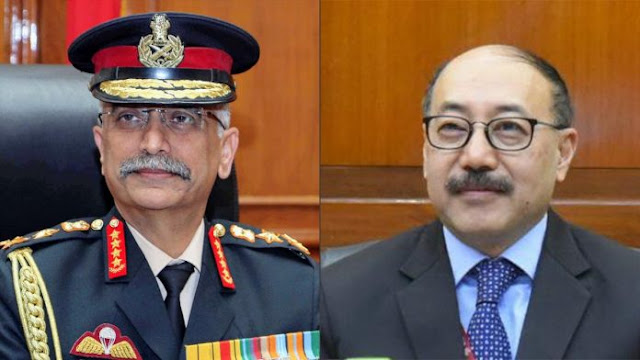 photo of Army Chief M.M. Naravane (left) and Foreign Secretary Harsh Shringla