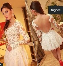 vestidos de noiva curtos com mangas rendadas - dicas e fotos