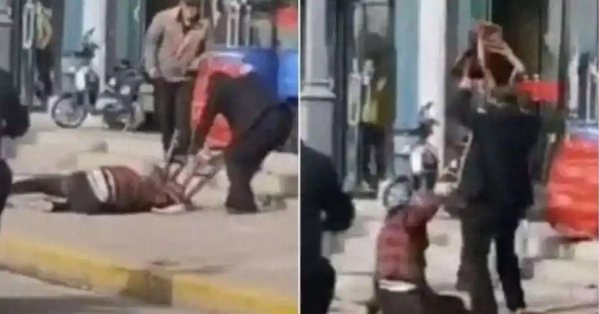 Shock As Video From China Shows Man Beating Wife To Death In Street While Onlookers Do Nothing