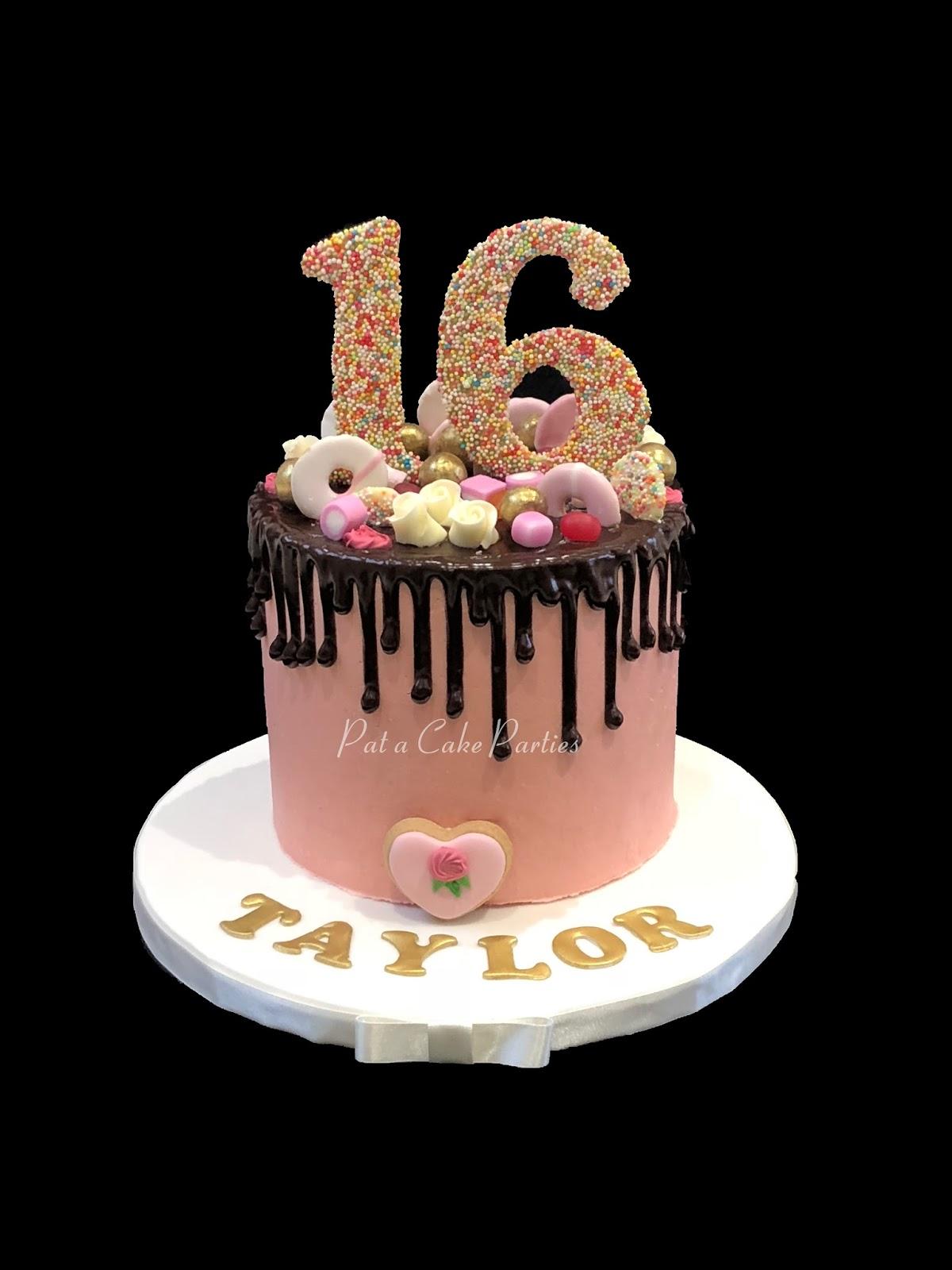 PataCake Parties 16th Birthday Drip Cake