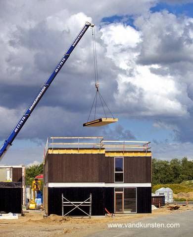 Construcción de una casa prefabricada en Dinamarca