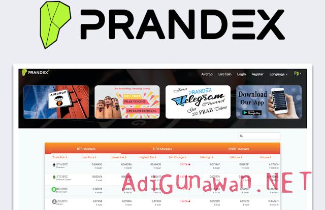 Platform Exchange Koin Crypto dan Token di Prandex