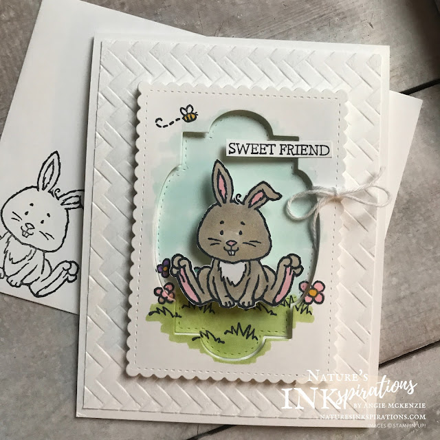 By Angie McKenzie for 3rd Thursdays Blog Hop; Click READ or VISIT to go to my blog for details! Featuring the Welcome Easter stamp set and the Stitched So Sweetly Dies from the January-June 2020 Mini Catalog ; #stampinup #welcomeeasterstampset #naturesinkspirations #stitchedsosweetlydies #subtleembossingfolder #coloringwithblends #handmadecards #actionspringwobblers #fussycutting #cardtechniques #thirdthursdaysbloghop #bakerstwine