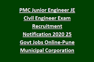 PMC Junior Engineer JE Civil Engineer Exam Recruitment Notification 2020 25 Govt Jobs Online-Pune Municipal Corporation
