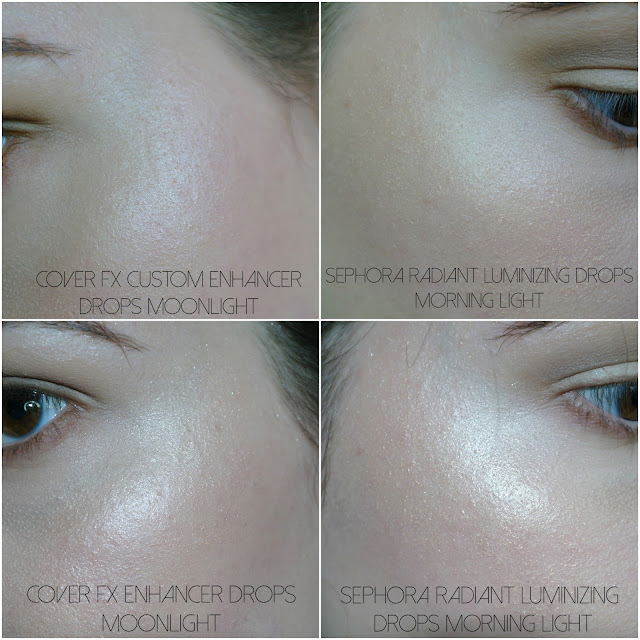 sephora radiant custom enhancer drops swatches morning light cover fx enhancer drops moonlight