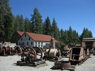 Mining equipment displayed on the grounds of Empire Mine State Historic Park, Grass Valley, California