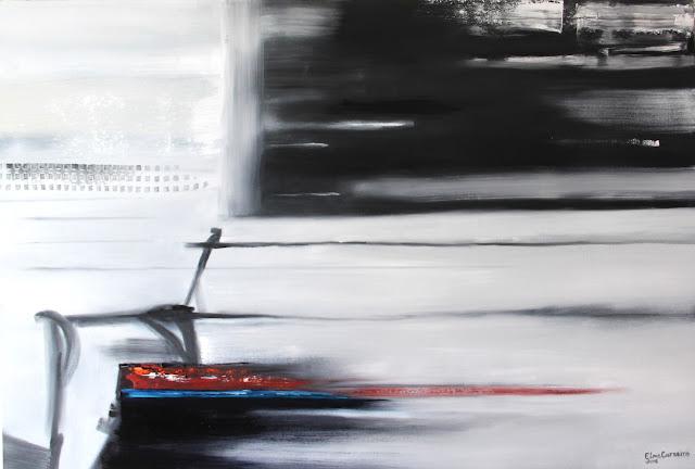Abstração em linhas, mista s/tela - 110 x 0,80 cm - arte de Elma Carneiro