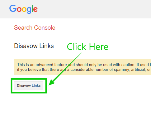 Disavow Links Button