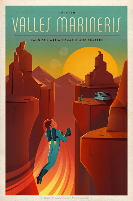 Mars Travel: SpaceX Mars Travel Poster - Valles Marineris