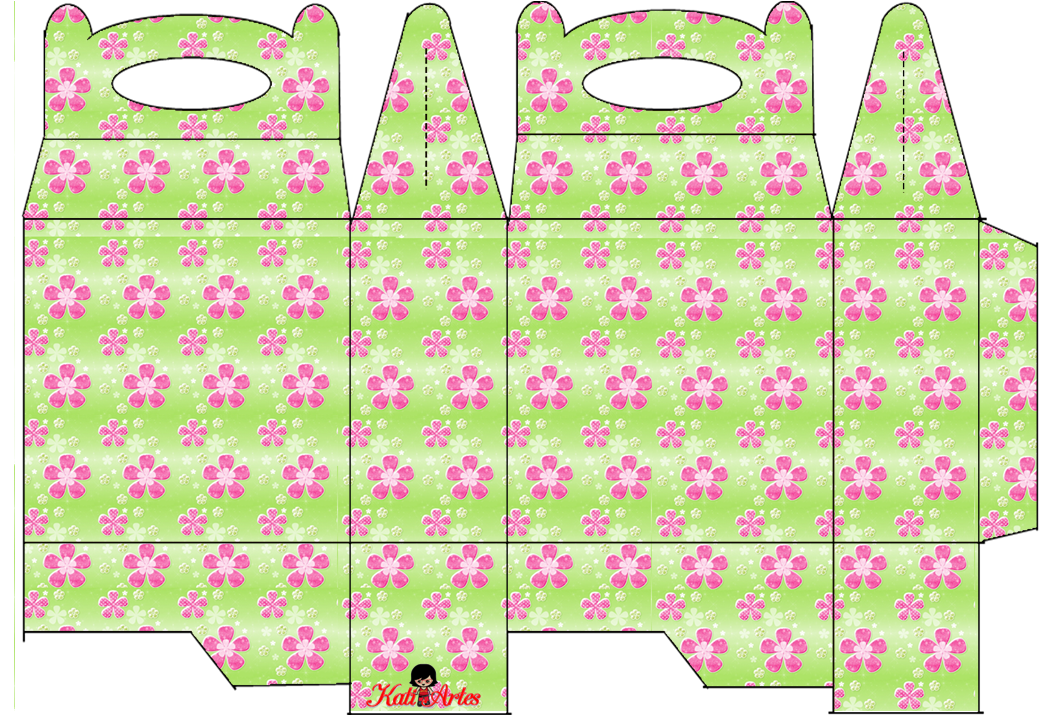 Pink Flowers: Free Printable Lunch Box.