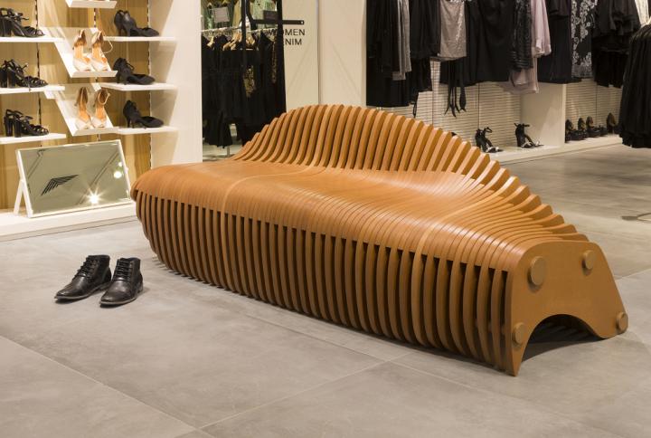 Nowoczesna ławka z mdf 3d frezowana cnc do sklepu hotelu