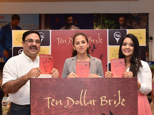 At the launch of Ten Dollar Bride at Crossword -L o R - -Ravi Subramanian, Sanya Runwal and Amruta Fadnavis
