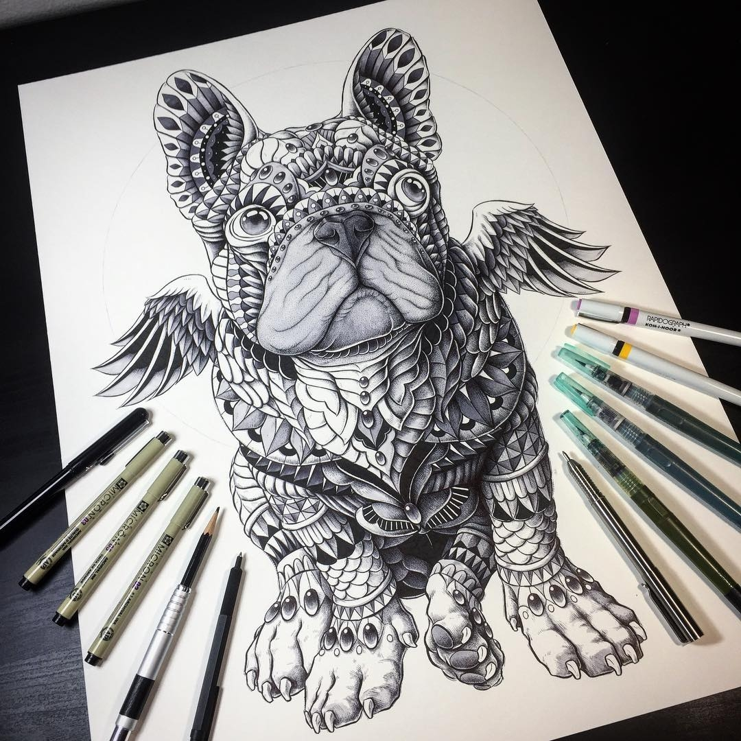 05-Winged-Bulldog-Ben-Kwok-bioworkz-Animals-Drawings-Detailed-with-Elaborate-Geometric-Shapes-www-designstack-co