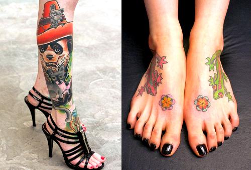 Tatuagem feminina nos pés e pernas