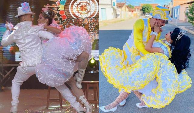 Duas quadrilhas juninas representam Barreiras durante concurso de casais de noivos, em Sergipe (SE)