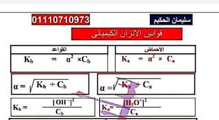 جميع قوانين التحليل الكيميائي والاتزان الكيميائي للصف الثالث الثانوي