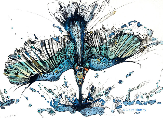 Kingfisher in Watercolour and Ink. Bird Painting.