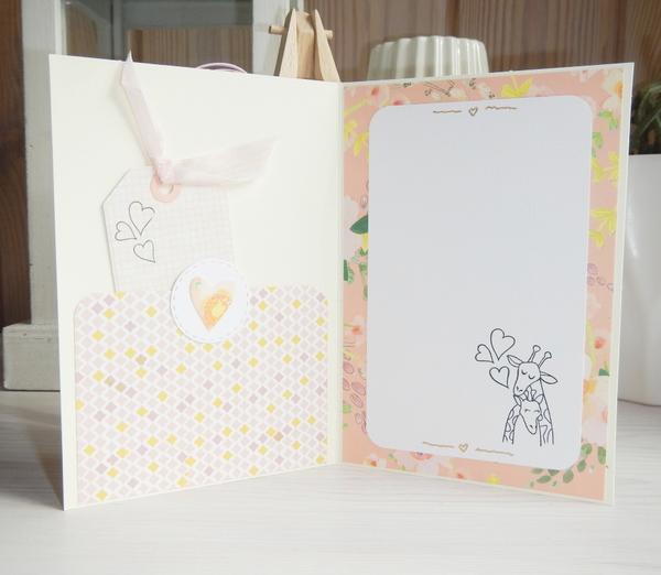 Wnętrze kartki ślubnej, kieszonka na gotówkę