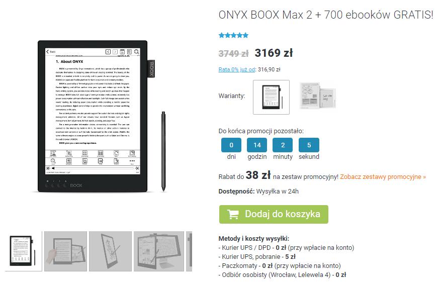 Onyx Boox Max 2 na czytio.pl