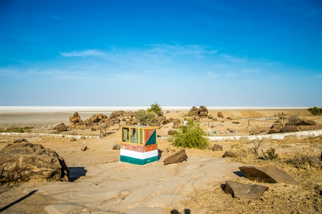 Dholavira Fossil Park entry with Rann of Kutch in Backdrop