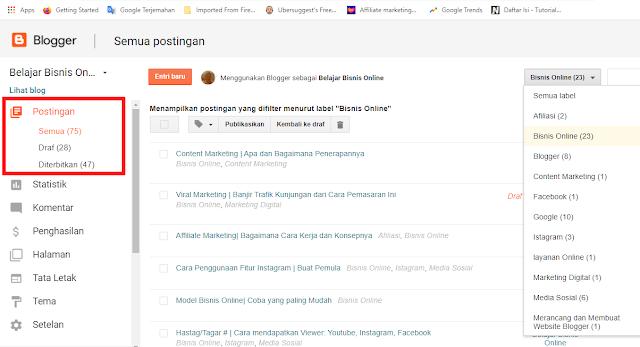 Fitur Postingan di Dashboard Blogger