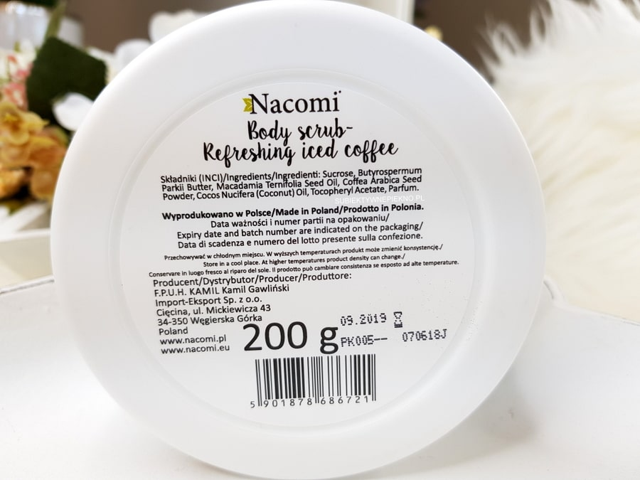 REFRESHING ICED COFFEE BODY SCRUB Nacomi - peeling mrożona kawa skład, opinie