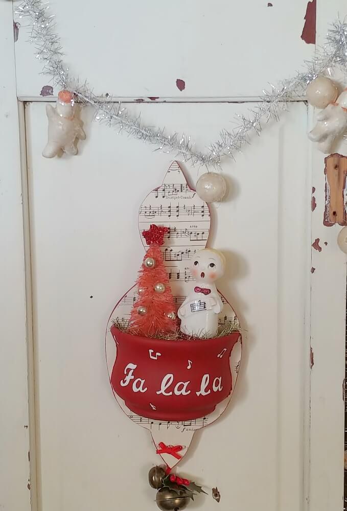 Upcycled Vintage Wall Pocket Christmas Vignette